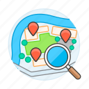 destiny, direction, gps, landmarks, location, map, pin, place, places, route, search, searching, see, to, travel icon