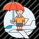 airplane, coverage, female, flight, insurance, journey, plane, travel, trip, umbrella icon