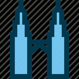 kuala lumpur, landmark, malaysia, petronas towers, tower icon