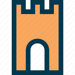 arch, castle, chateau, entrance, fortress icon