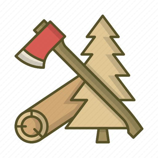 axe, forest, lumberjack, tools, wood icon