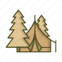 camp, camping, forest, tent