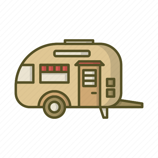 house on wheels, mobile, trailer, travel trailer, vehicle icon