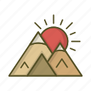 landscape, mountain, mountains, sun, sunset icon