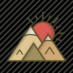 landscape, mountain, mountains, sun, sunset icon