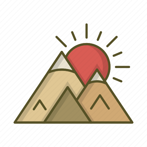 Landscape, mountain, mountains, sun, sunset icon - Download on Iconfinder