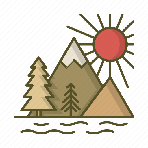 forest, lake, mountains, sun, sunset icon