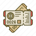 globe, pass, plane, ticket, tickets, travel icon