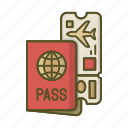 pasport, pass, plane, ticket, tickets, travel icon