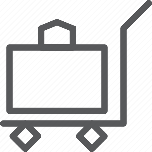 airport, baggage, cart, check, luggage, push, travel, trolley icon