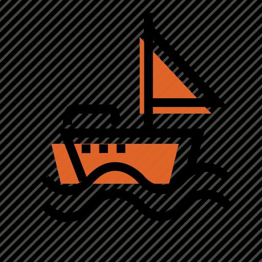 boat, boat icon, grid, sailor, ship, ship icon, wave icon