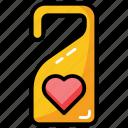 door handle, door label, door tag, doorknob, hotel label, restaurant tag icon