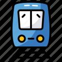 public transport, rail, railroad, railway track, train, transportation, traveling icon