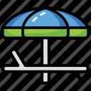beach chair, beach umbrella, relax, sun protection, sunshade icon