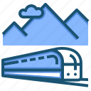 train, transport, tunnel icon
