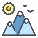 hike, hiking, mountain, sun, travel icon