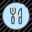cafe, food, fork, knife, restaurant, sign icon