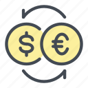 change, coin, currency, dollar, euro, exchange, money icon
