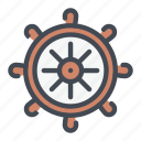 boat, cruise, round, steering, trip, wheel icon