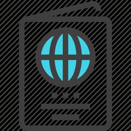 Business, travel, identification, passport, international, document, id icon