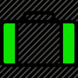 .svg, bag, briefcase, green, line, minimal, suitcase icon