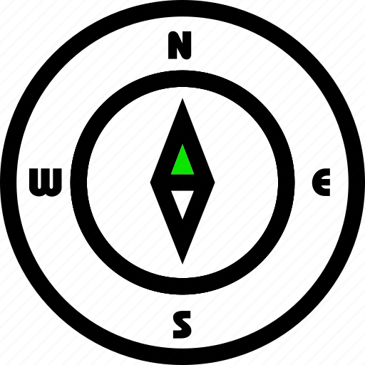 svg, compass, direction, east, green, line, minimal, north, south, west icon
