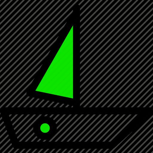 .svg, boat, green, line, mast, minimal, sail, ship icon