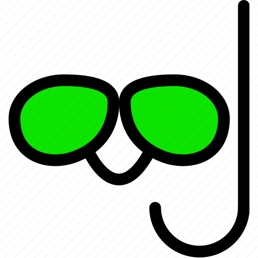 .svg, green, line, mask, minimal, snorkel, sunglasses icon