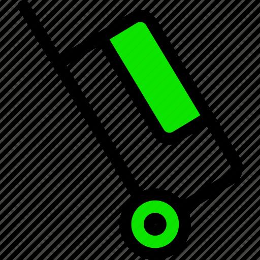 .svg, bag, briefcase, green, line, minimal, suitcase, wheel icon