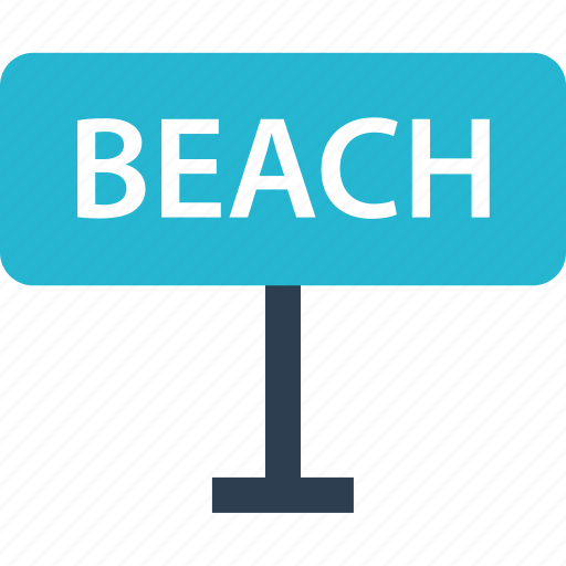 away, beach, outdoors, road, sign, travel, vacation icon