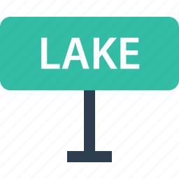 away, lake, outdoors, road, sign, travel, vacation icon