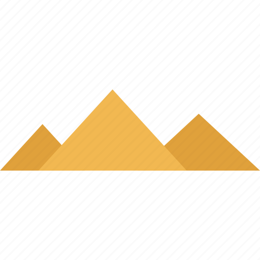away, hot, outdoors, pyramids, three, travel, vacation icon