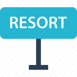 away, outdoors, raod, resort, sign, travel, vacation icon