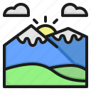 mountain, travel, forest, sun, snow, landscape, nature