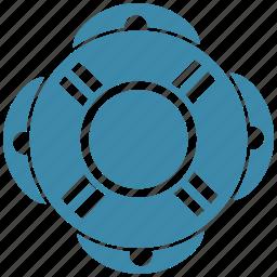 life belt, life ring, lifebuoy, ring buoy, rubber ring icon