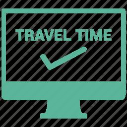 checkin, computer, screen, travel icon