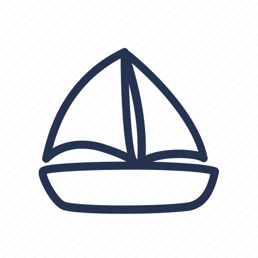 boat, cartoon, doodle, drawing, yacht icon
