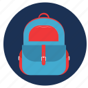 and, backpack, bag, hand, travel, vacation icon