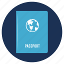 and, passport, travel, vacation, visa icon
