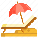 beach, beach chair, chair, lounge chair icon