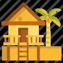 beach, hut, resort, villa