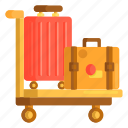 baggage, briefcase, luggage, suitcase, trolley icon