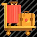 baggage, briefcase, luggage, suitcase, trolley
