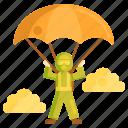 extreme sports, parachute, parachuter, paratroop, paratrooper icon