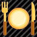 cafe, food, fork, knife, meal, plate, restaurant
