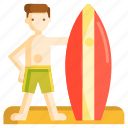 surfboard, surfer, surfing icon