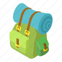backpack, cartoon, green, luggage, mat, rolled, tourism icon