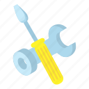 cartoon, industry, repair, screwdriver, spanner, work, wrench icon