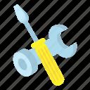 cartoon, industry, repair, screwdriver, spanner, work, wrench icon