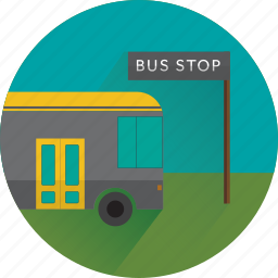 bus, bus stop, carry, convey, transfer, transport icon